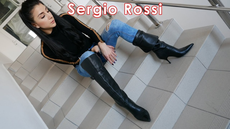 Catherina's pointed toe high heels Sergio Rossi over knee boots Size EU 37 US 7