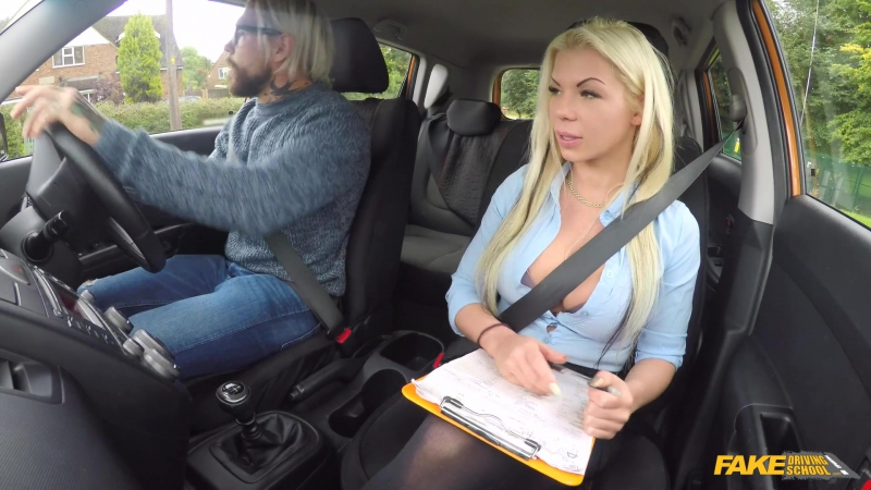 Fake Driving School Barbie Sins Busty blonde is cum hungry on test New Porn