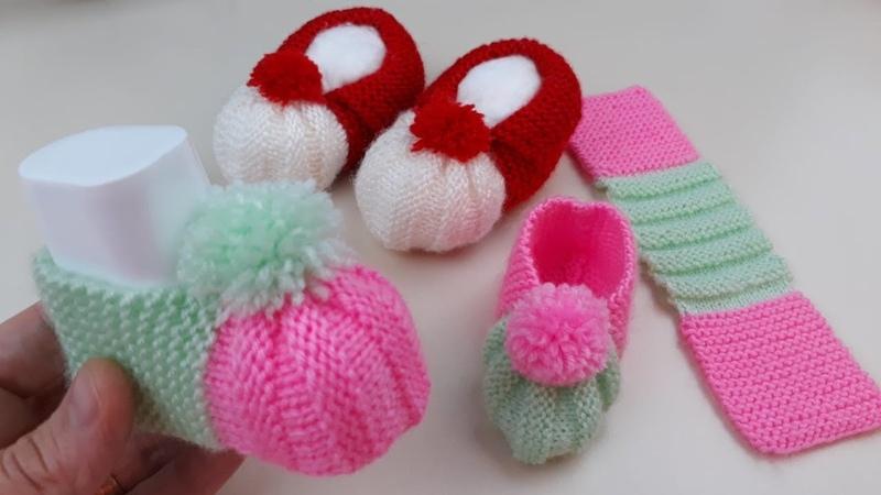Karpuz Dilimli Bebek Patik Yapımı Örgü Modelleri ♥