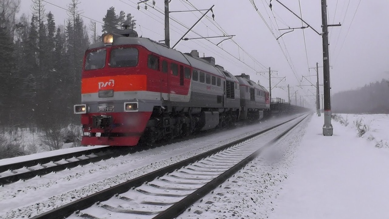 Тепловоз 2М62У-0132 с поездом для перевозки рельсов