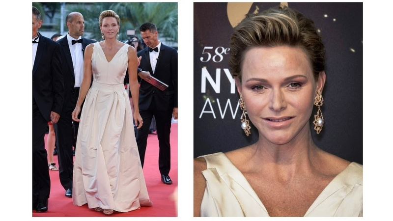 GLAMOROUS Princess CHARLENE wore CAROLINA HERRERA GOWN for Monte Carlo Tv Festival