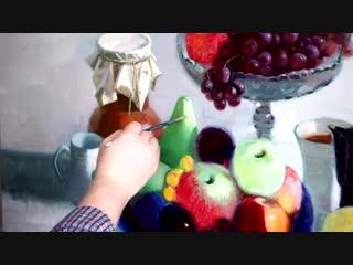 Натюрморт с фруктами. Живопись маслом.