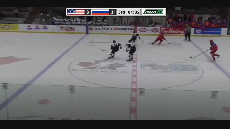 The Americans pulled their goalie in an attempt to win the game in regulation, but Russia will take a 4-3 lead with the USA net