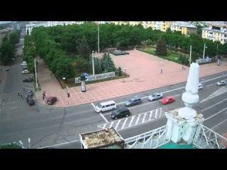 Запись камеры наблюдения у Луганской ОГА 02.06.2014 года