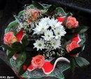 Букет из роз и хризантем.  Дуэт.
