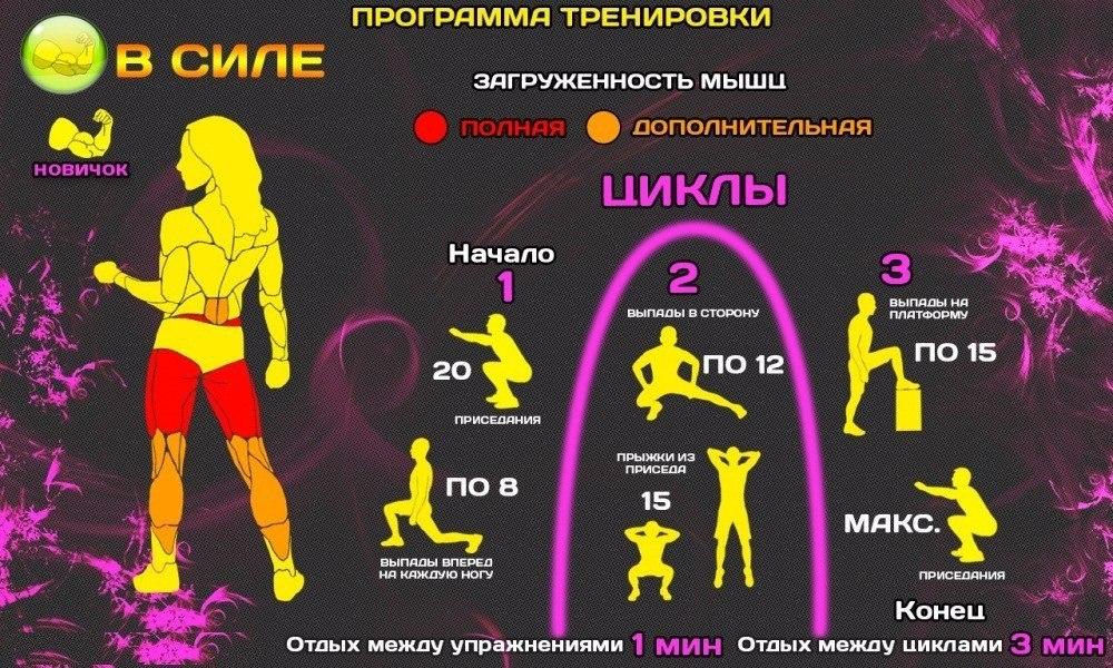 Программа тренировок в домашних условия для девушек на похудение