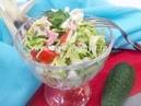 Салат с крабовыми палочками капустой и колбасой