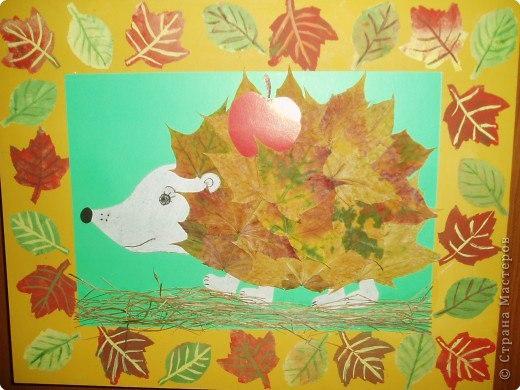 Поделка ёжика из листьев