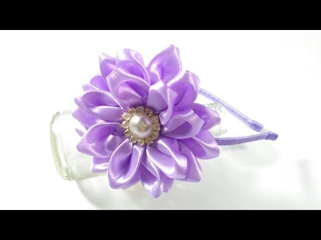 Kanzashi Flower Headband From Satin Ribbon | DIY by Elysia Handmade
