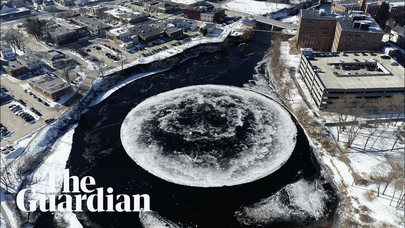 Moon river Giant, spinning ice disc mesmerises in Maine
