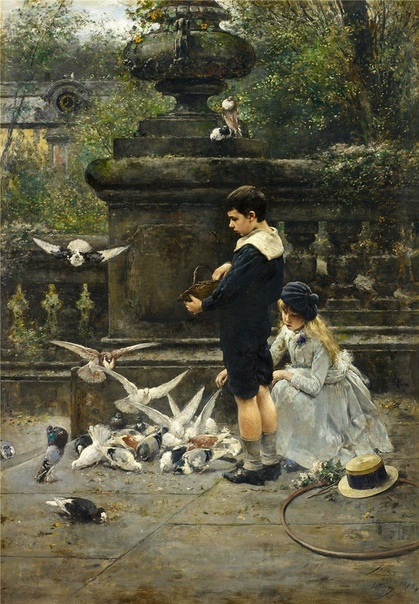Картина «Дети кормят голубей в парке» Художник: Эжен Жур (1850-1910)