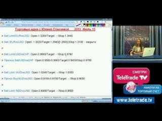 Юлия Станчева. Торговые системы и их сигналы. 15 июля. Полную версию смотрите на www.teletrade.tv