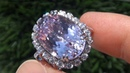 GIA CERT Estate 18 38 ct VVS1 Natural Pink Kunzite Diamond PLATINUM Vintage Ring