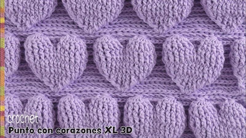 Punto de corazones extra grandes en relieve 3D tejido a crochet Tejiendo Perú