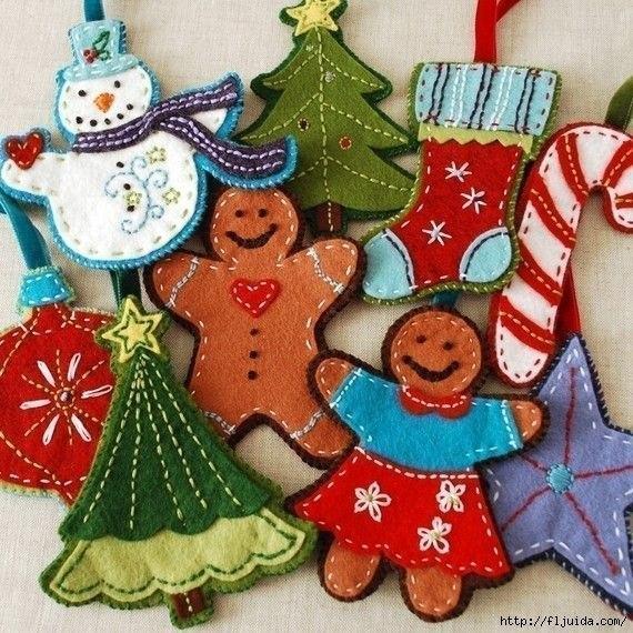 Новогодние игрушки из фетра. Шаблоны. (6 фото) - картинка