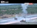LiveLeak Syria T-72 is knocked out by RPG while trying to save another t-72.