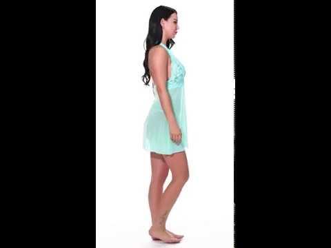 Avidlove Women Lingerie Halter Chemise Lace Babydoll Mesh Nightwear V Neck Teddy