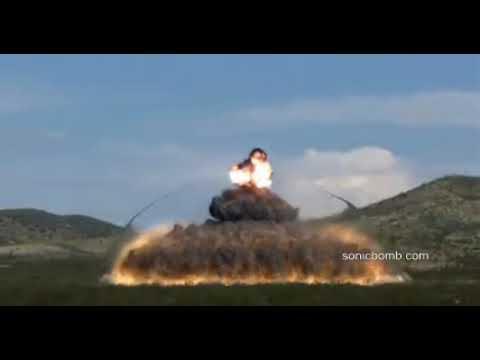 Взрыв вакуумной бомбы термобарической бомбы в замедленной съёмке