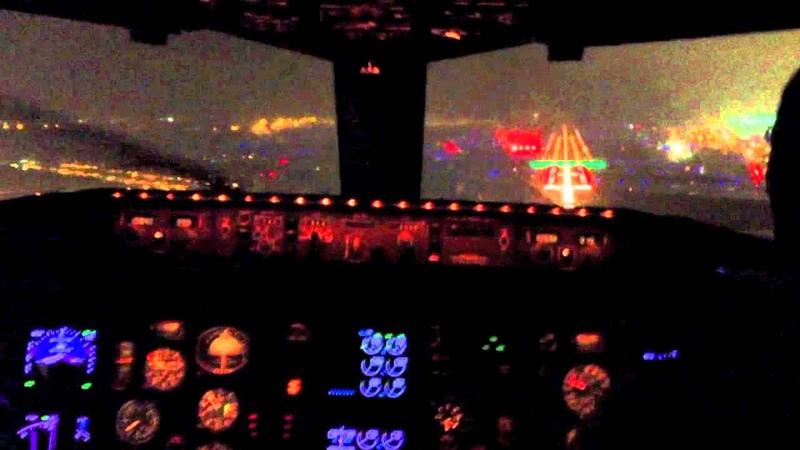 Boeing 757 Cockpit Landing