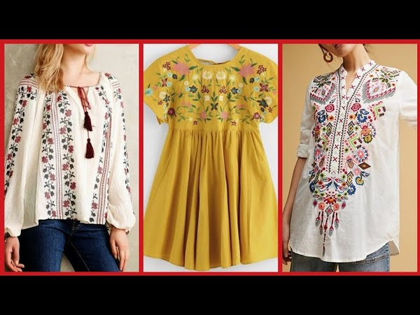 Top Stylish Embroidered Blouse Short Shirts Style 2019
