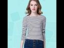 Plus Size Plunge Neck Striped Fit T Shirt
