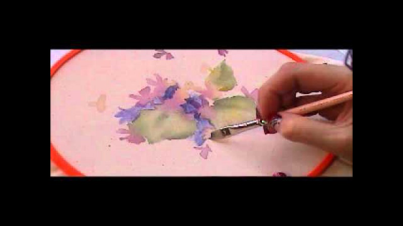 Painting violets on fabric for embroidery 3