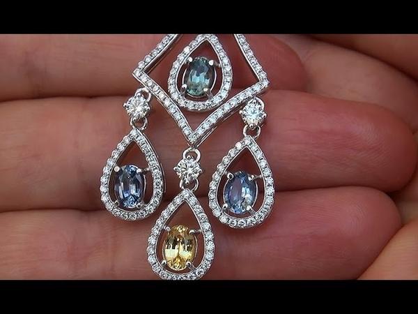 GIA Certified UNHEATED Natural VVS1 Multi Sapphire Diamond 18k White Gold Necklace - C314