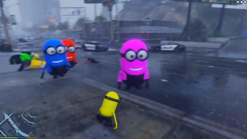[ScortyShow] МИНЬОНЫ НАПАЛИ НА ГОРОД ЛОС САНТОС В ГТА 5 МОДЫ! ОБЗОР МОДА GTA 5 видео игра как мультик для детей