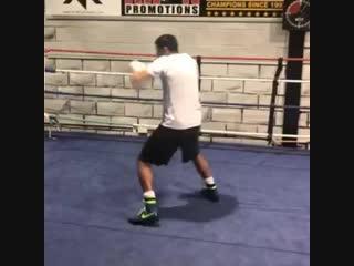 Амир Хан во время тренировки