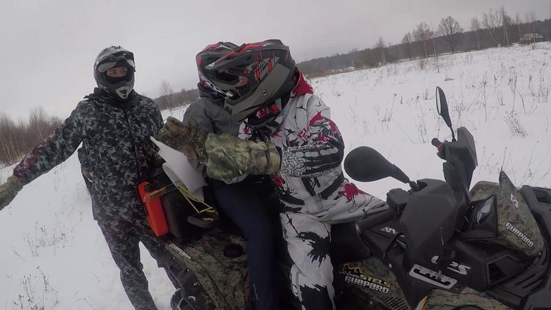 По талому снегу на квадроциклах снегоход не нужен CF X8 Guepard 650