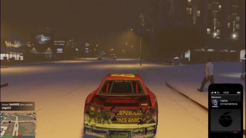 Пытаюсь заказать тачку в GTA Online, находясь в своей уничтоженной тачке. ТРЭШ! Снег
