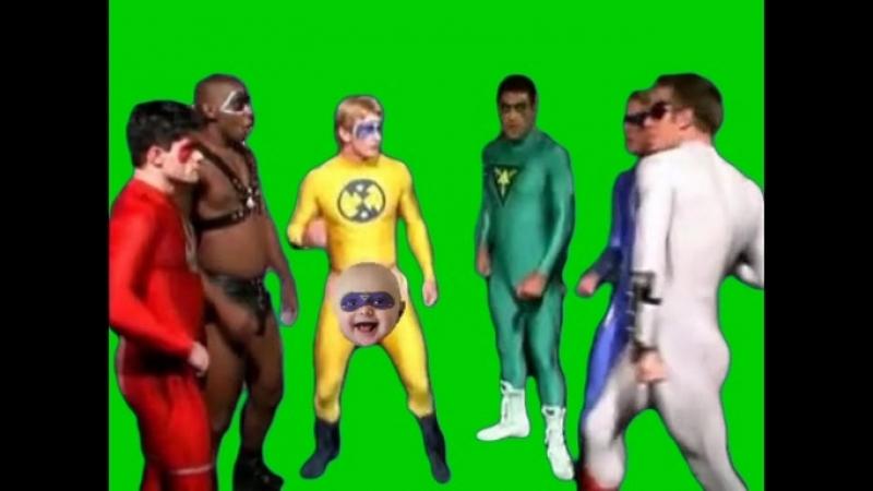 Gachimuchi Gay heroes on a green screen Гейские герои на зелёном экране