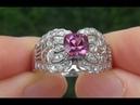Estate Natural VVS1 Pink Tourmaline Diamond 14k White Gold Cocktail Ring - C691