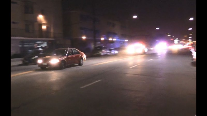 Погоня за 14 летним угонщиком в Лос Анджелесе, видео очевидца