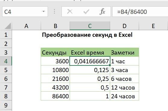 Преобразование секунд в Excel