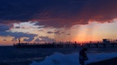Летние неповторимые закаты. Море, шторм на пляже Центральный в Лазаревском. 2019