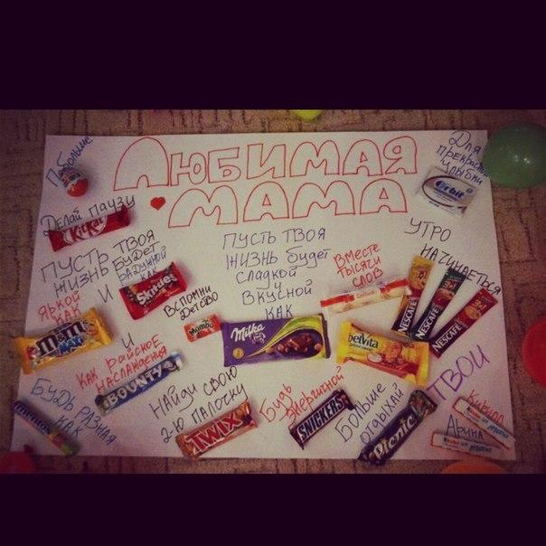 Плакат с сладостями на день рождения маме своими руками