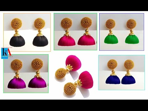 How to make silk thread jhumkas making of simple and easy jhumkas at home