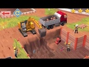 Jogando jogo construçao com escavadeira tratores e caminhoes