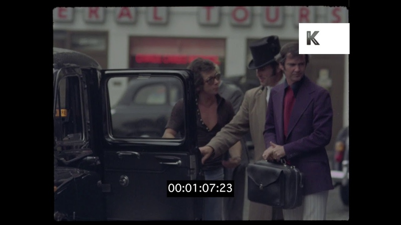 Taxi at a Luxury London Hotel, 1970s UK, HD from 35mm