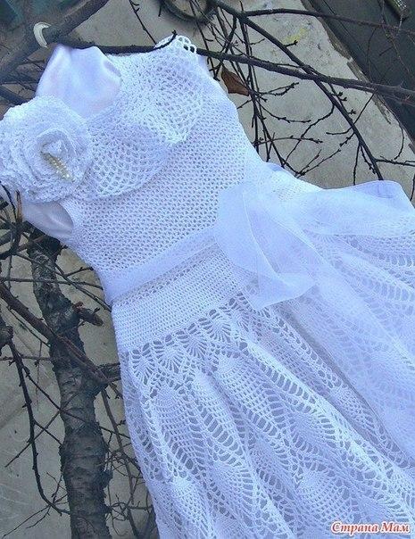 Платье для маленькой принцессы Белоснежный ажур …. (6 фото) - картинка