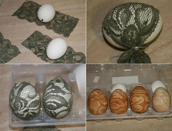 Окрашивание пасхальных яиц.