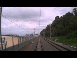Перегон Сочи - Мацеста из окна хвостового вагона поезда