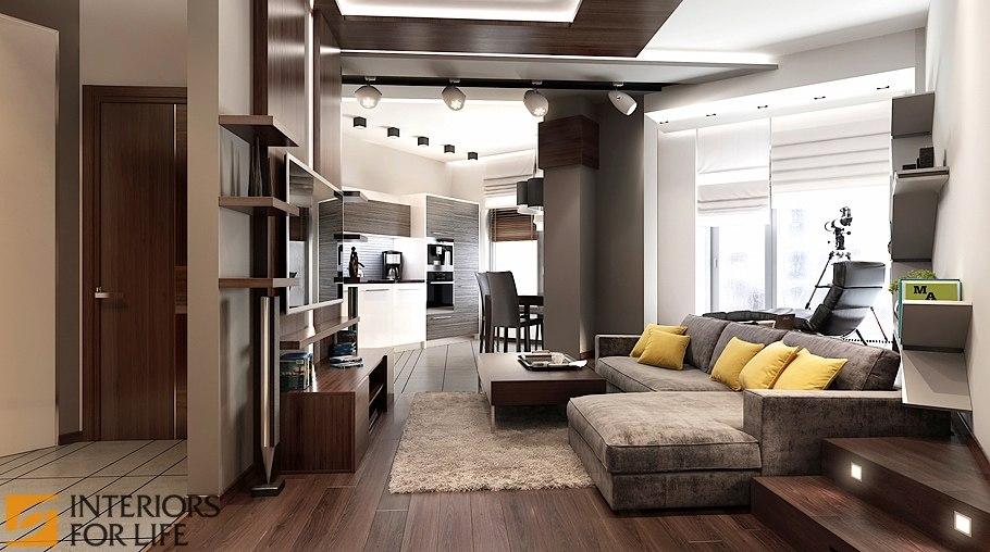 Дизайн однокомнатной квартиры-студии 43 кв. м