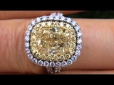 THE BEST &amp BIGGEST EGL Certified 4.22 Carat Fancy Yellow Diamond Engagement Ring Solid 18K Gold