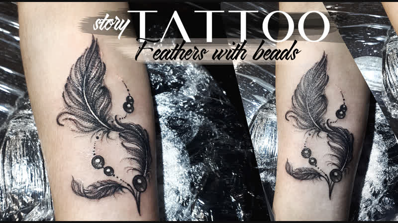 Tattoo story Feather with beads