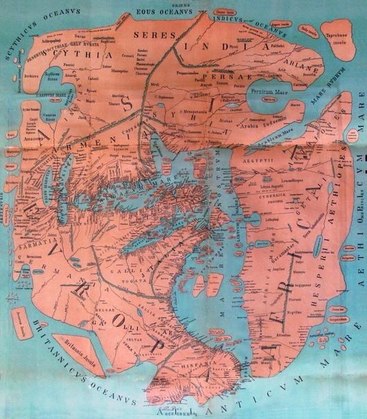 Карта мира, которую составил римский историк и географ Помпоний Мела.
