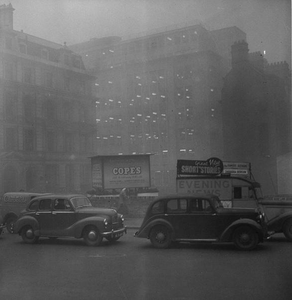 Великий смог, превративший Лондон в эталон нуара. 5 декабря 1952 года Лондон накрыл туман, который принес с собой сильные морозы. Люди вовсю топили печи углем, из-за чего из труб над домами и