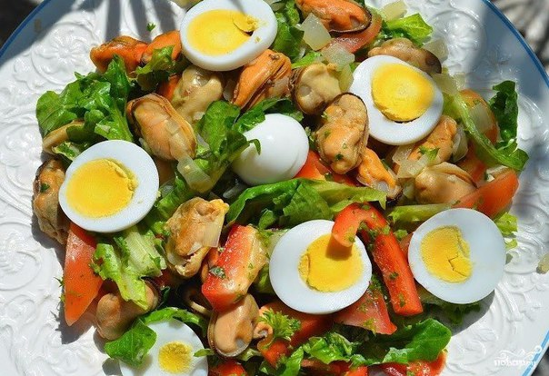 Вкусные салаты из мидий фото