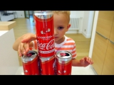 Смешные дети прикол с Кока-Кола! Малыши преобразовывают волшебный автомобиль, потеха семьи игрушки